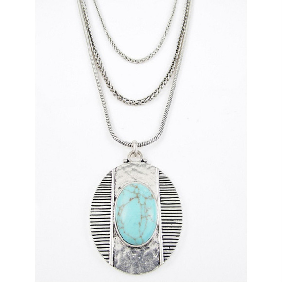 ec300533987d8 LUCKY BRAND Turquoise Stone Oval Pendant Necklace NWT